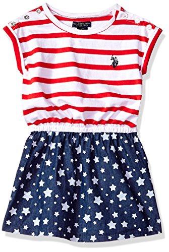 U.S. Polo Assn. Girls' Toddler Casual Dress, Americana Stars Stripes Multi, 2T