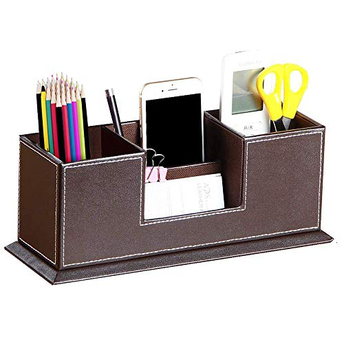 PUSU Leather Cute Pen Organizer,Pencil Holder,Pen Cup/Stand/Tray/Container/Caddy,Desk Organizers and Accessories,Office…