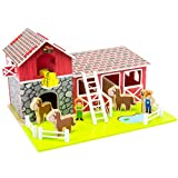 Saddle Up! Barn & Stable, Wooden Barnyard Playset with Horses, Farmers, Hay, Lift, Fences, and Stable by Imagination Generation