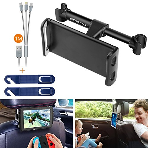Cell Switch - Smartphone iPhone iPad Tablet Car Headrest Mount Holder Cradle Rear Back Seat Mount w/ 3in1 Cable + Headrest Hanger for iPad Samsung Galaxy Tabs Nintendo Switch Cell phone Car Mount