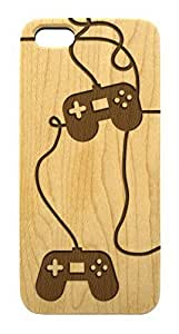 Genuine Wood Trendy Hipster Gamer iPhone 5 5s Case - Lasercut Game Controller iPhone Cover (Light Maple Wood)