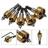 5 Pcs Carbide Tip HSS Drill Bit Saw Set Metal Wood Drilling Hole Cut Tool For Installing Locks 16/18.5/20/25/30mm