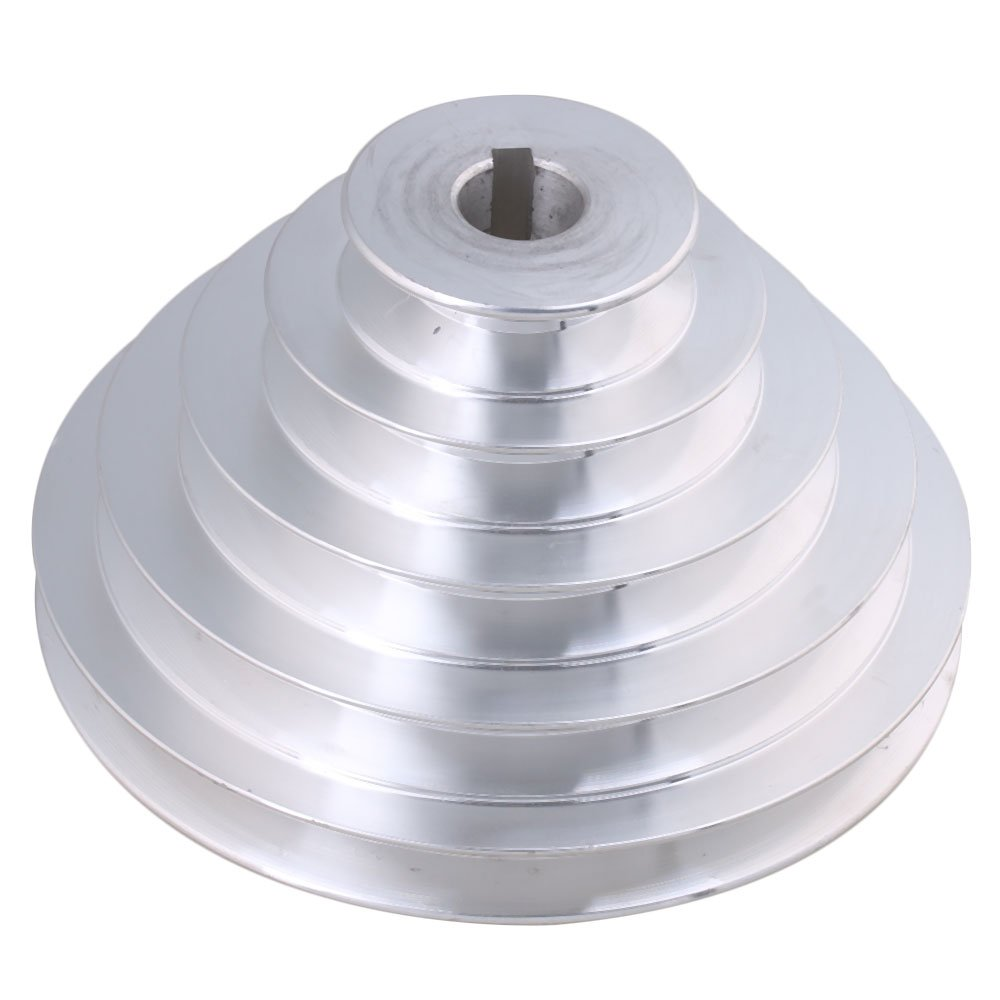 BQLZR 54mm to 150mm Outter Dia 19mm Bore Width 12.7mm Aluminum 5 Step Pagoda Pulley Belt for A Type V-Belt Timing Belt M4171229244