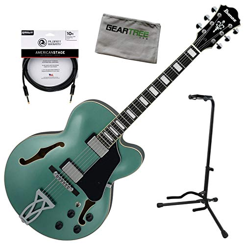 Ibanez AF75 OLM AF Artcore Hollow Body Olive Metallic Electric Guitar w/Stand, C