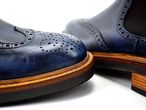 DIS - Luciano - Stivaletto A Coda Di Rondine - Uomo, Spazzolata Blu Stivale uomo pelle personalizzato in pelle abrasivata blu fatto a mano e su misura, made in Italy.