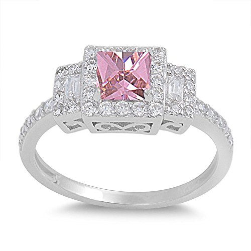 (CloseoutWarehouse Princess Cut Pink Cubic Zirconia Halo Ring Sterling Silver Size 9)