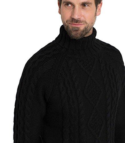 WoolOvers Pullover mit Aran-Muster und Rollkragen aus reiner Wolle für Herren Black, L