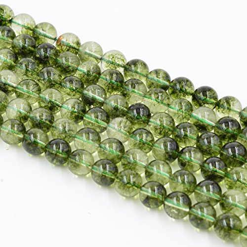 Asingeloo Natural Green Peridot Stone Beads for Jewelry Making Gemstone Loose Beads Crystal Energy Stone Healing Power 6mm /15inch a Strand