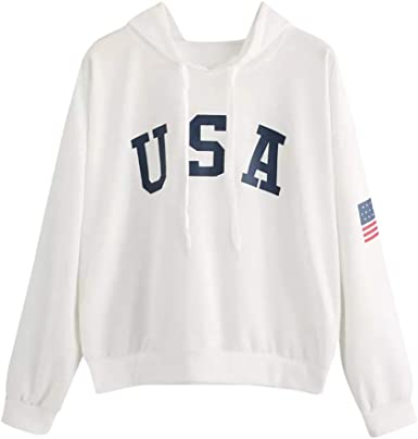Sweat à Capuche Manche Longue Femme Fille Hooded Pull USA Imprimé Sport Top Blouse Chic Casual Simple Haut Chemise Loose Décontractée Mode Automne