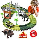 HOMOFY Dinosaur Toys 142pcs Slot Car Race Track Sets Jurassic World with Flexible Tracks 2 Dinosaurs,Bridge Create A Road Car Track Toys for 1 2 3 Year Old Boys Girls Toddlers Gifts (Brand Protection)