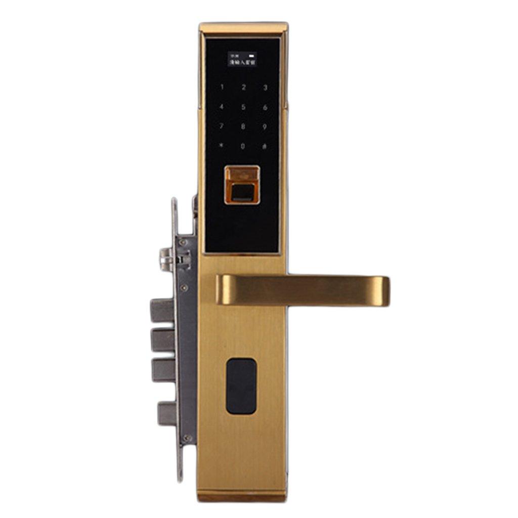 Baoblaze 高品質 5 in 1 スマート ドアロック 指紋 ドアロック ホーム オフィス セキュリティ 全3色 ゴールド B0799FSNYM  ゴールド