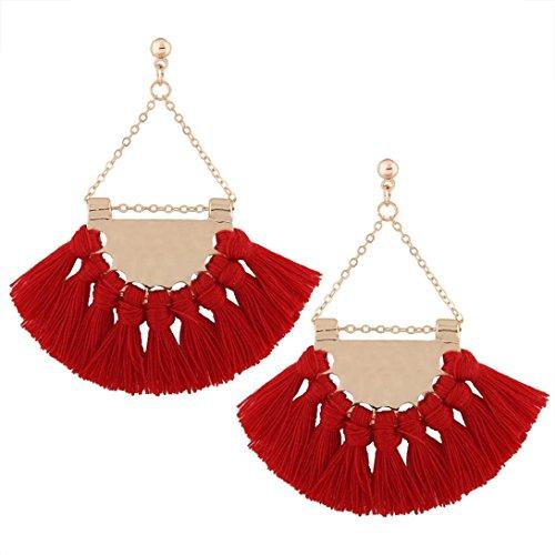 Vanvler Fashion Bohemian Women Long Tassel Fringe Dangle Earings (Red)