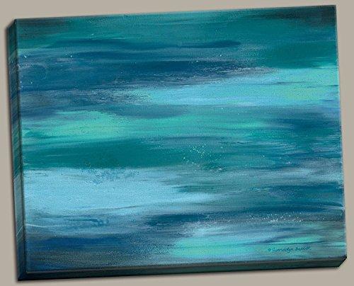 Gango Home Décor Contemporary Abstract Blue Teal Ocean Canv