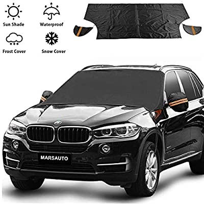 """CarWindshield Snow Ice Cover,Snow Ice Frost Auto Cover,Waterproof Sunshade Snow Protection,Magnetic Edges with Windproof Straps,Fits for Cars, Trucks, Vans,SUVs,Extra Larger Size 82""""x 49"""""""