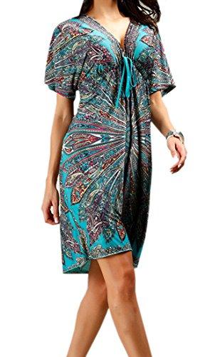 Yuelian(TM) レディース エスニック 膝丈 チュニックワンピース 春夏 ドレス 大きいサイズ