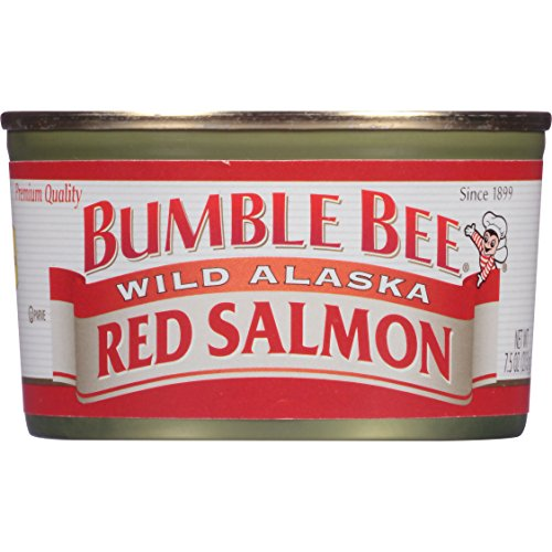 BUMBLE BEE Wild Alaska Red Salmon, 7.5 Ounce Cans (Pack of 12), Wild Caught, High Protein Food, Keto Food, Gluten Free, High Protein Snacks, Canned Food