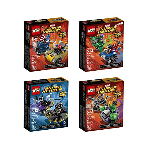 Lego Mighty Micros Super Heroes Bundle: Batman vs. Catwoman 76061, Spider Man vs. Green Goblin 76064, Captain America vs. Red Skull 76065 and Hulk vs. Ultron 76066 Red Skull Figure Set