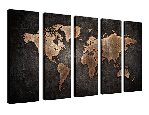 Yearainn Canvas Prints Wall Art World Map Picture Print on Canvas - 5 Piece Canvas Art Vintage Map Painting Black Background Large Old Map of World Artwork for Living Room Bedroom Office Decoration