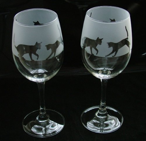 Cat gift wine glasses Glass in the forest