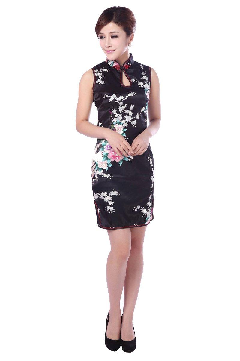 JTC(TM) Cheongsam Chinese Dress Han Costume Sleeveless Qipao Skirt 4 Colors (4, Black)