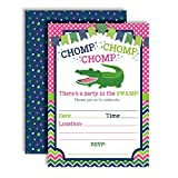 Alligator Pink, Navy & Green Chomp in The Swamp Birthday Party Invitations for Girls, 20 5''x7'' Fill in Cards with Twenty White Envelopes by AmandaCreation