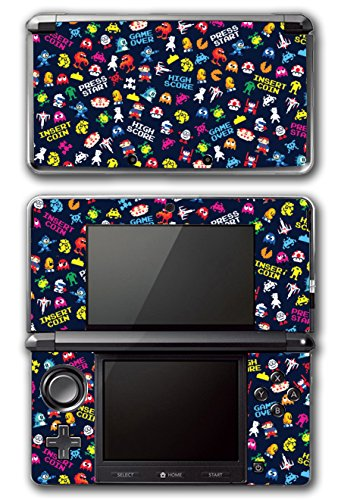Retro Video Game Pixel Art Mega Man Bubble Bobble Galaga Game Over Insert Coin Mario Video Game Vinyl Decal Skin Sticker Cover for Original Nintendo 3DS System