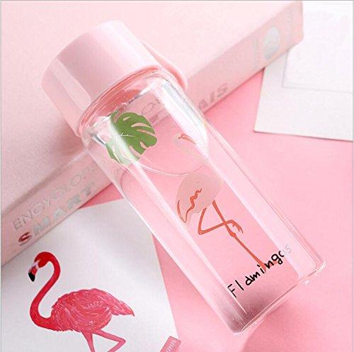 generisch Botella de Cristal Botella Botella de Agua para niños Student schülerin niña Color Rosa Cristal Botella BPA Libre Bonito diseño Flamencos con Carcasa para Oficina Aula 300ML Jvxiangge
