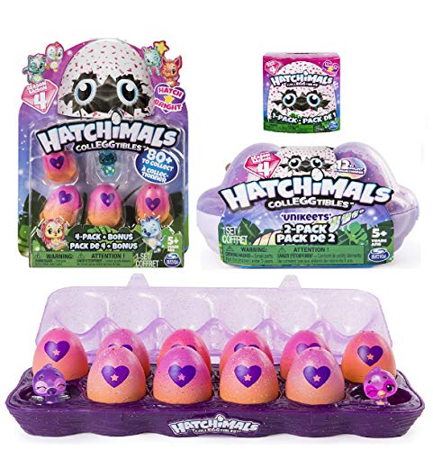 Hatchimals CollEGGtibles Season 4 -12 Pack Egg Carton, 4-Pack, 2 Pack, and 1 Pack. (Styles and Colors May Vary) Including Blizy Keychain.