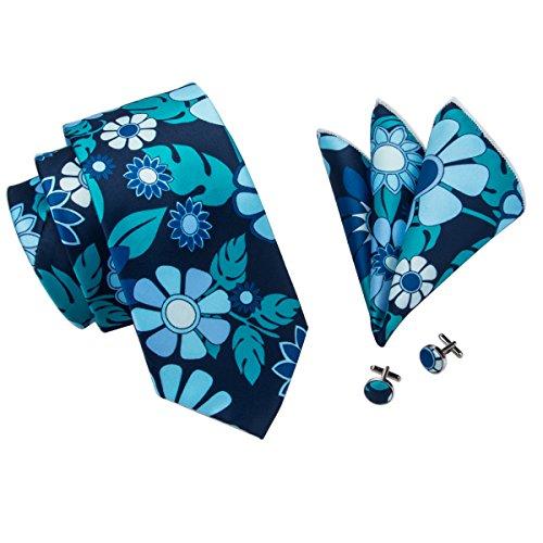 - Hi-Tie Designer Floral Pattern Men's Necktie Set