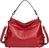 Kenoor Fashion Leather Tote Top Handle Shoulder Bag Handbags Cross-body Purse Bag for Women on Clearance (Red)
