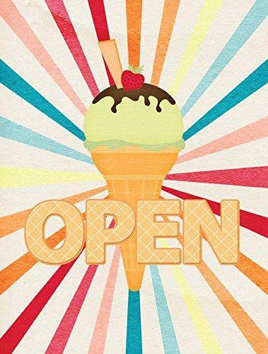 Open Ice Cream - Caroline's Treasures SB3113CHF Ice Cream Shop or Stand Open Flag Canvas, Large, Multicolor