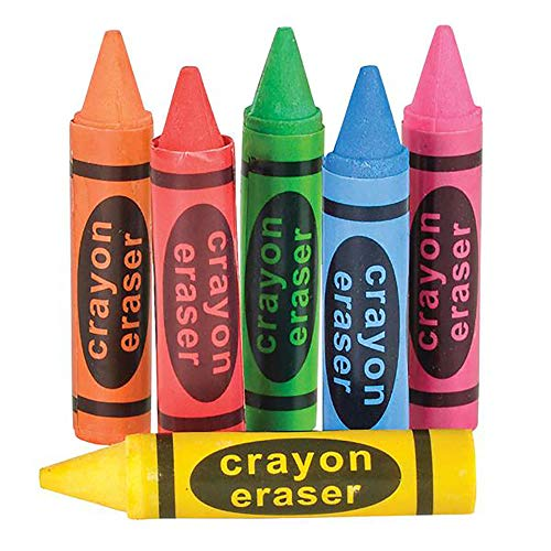 Kicko Crayon Shaped Eraser - 12 Pack Assorted Colors - Novelty Toys, Educational Tool, Perfect for School Supplies, Playroom Decor, Arts and Crafts, Party Stuffers, and Freebies
