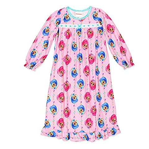 Shimmer and Shine Girls Flannel Granny Gown Nightgown Pajamas (6, Light Pink) - Shine Flannel