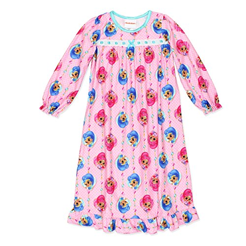Shimmer and Shine Girls Flannel Granny Gown Nightgown Pajamas (8, Light (Granny Night Gown)