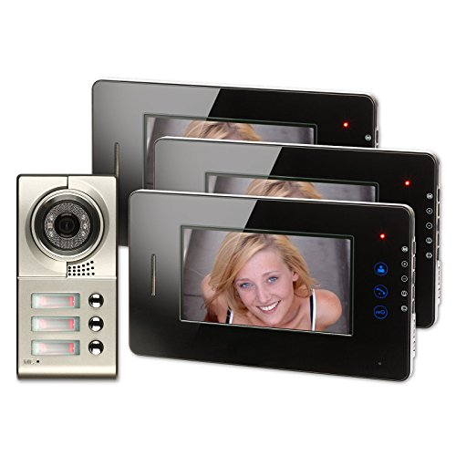 Generic-7-inch-Color-LCD-Video-Door-Phone-Doorbell-Home-Entry-Intercom-System-3-Monitor-1-Metal-Camera-Night-Vision-for-3-Family-705-Black