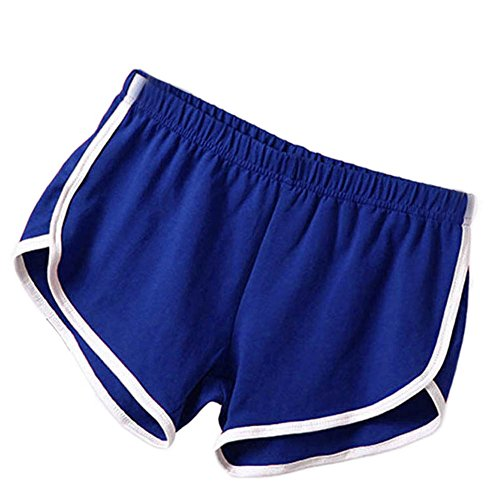 Soly Tech Women Summer Sports Shorts Gym Workout Waistband Skinny Shorts Pants Blue -