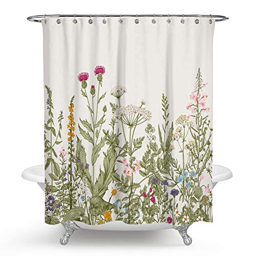 QCWN Flower Shower Curtain, Colorful Floral Border Herbs and Wild Flowers Botanical Engraving Style Shower Curtain Set with Hooks for Bathroom Decor.Multi -