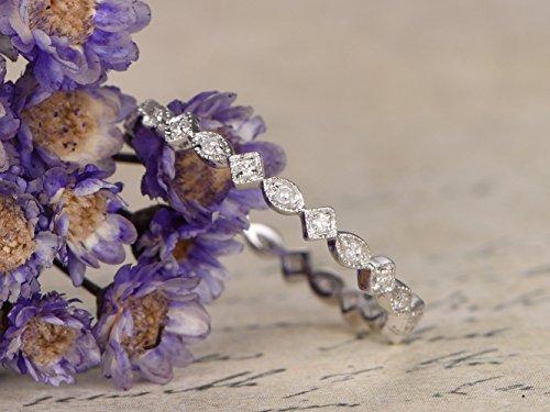 Diamond Solid 14k White Gold Wedding Band Full Eternity Engagement Ring Milgrain Filigree Stacking Rings Thin Diamonds Bridal Anniversary Gift Art Deco Natural ()