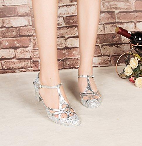 Minitoo - Zapatillas de danza de sintético para mujer Silver-5cm Chunky Heel
