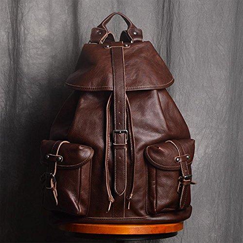 Handmade Full Grain Leather Casual Backpack Men's Fashion Travel Backpack Hiking Rucksack by Jellybean Gorilla