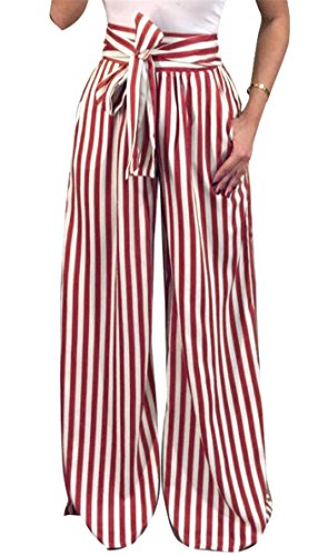 X-Future Women's Striped Drawstring Elastic Waist Wide Leg Loose Palazzo Pants