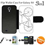 Bicycle Parts Explained Custom Galaxy S4 Cases Flip Wallet Case,Bundle 3in1 Comes with Screen Protector/Universal Stylus Pen by innosub