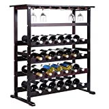 24 Bottle Wood Wine Rack Holder Storage Shelf Display w/ Glass Hanger For Sale
