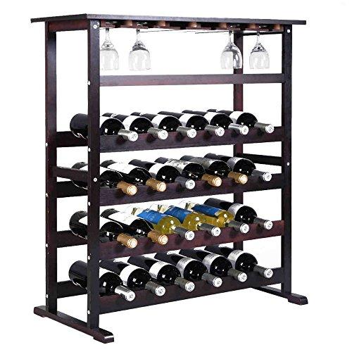 24 Bottle Wood Wine Rack Holder Storage Shelf Display w/ Glass Hanger For Sale