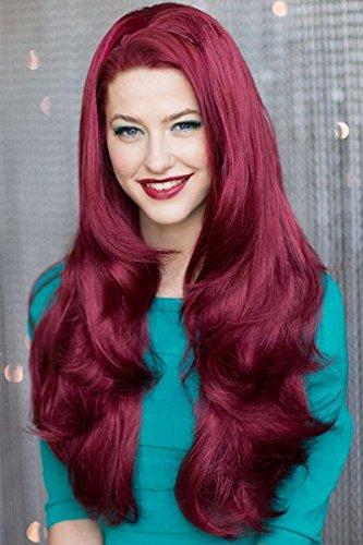 Rojo, rizado, 3/4 o de la mitad peluca de pelo Extensión: