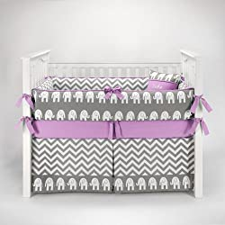 Elephant Chevron Girl's Zig Zag Gray & Lilac Baby Bedding - 5piece Crib Set by Sofia Bedding
