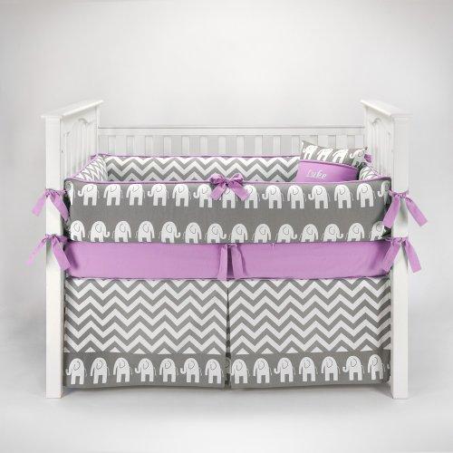 Elephant Chevron Zig Zag Gray & Lilac Baby Bedding - 5pc Crib Set by Sofia Bedding
