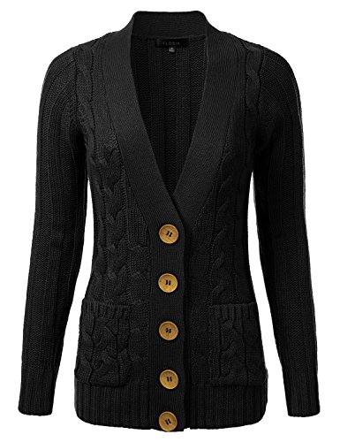 FLORIA Womens Cable Knit Long Sleeve Button Sweater Cardigan w/ Pockets BLACK L
