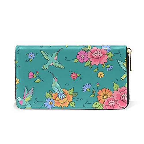 Flowers Around And Organizer Purses Handbags Wallet Pattern Hummingbirds TIZORAX And Zip Clutch Vintage Birds Womens 5 fBtIH7q