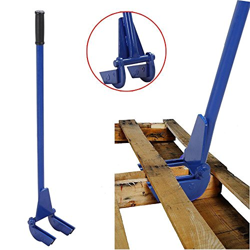 Yaheetech Pallet Tool | Steel Pallet Buster 44',Wrecking Bar with Double Demolition Forks Blue